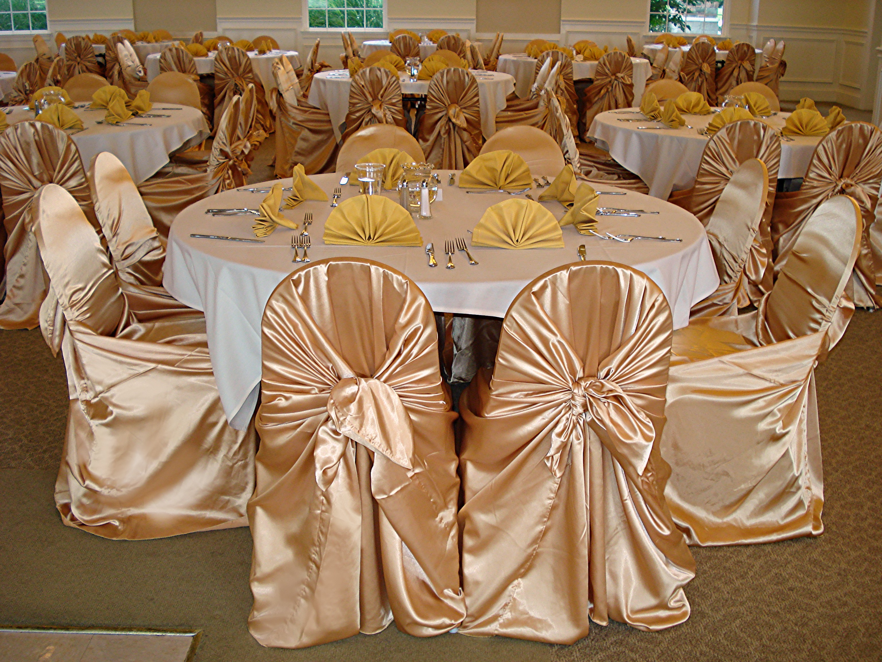 Dreams Blackgoldchampagne Satin Chair Covers Tie Back