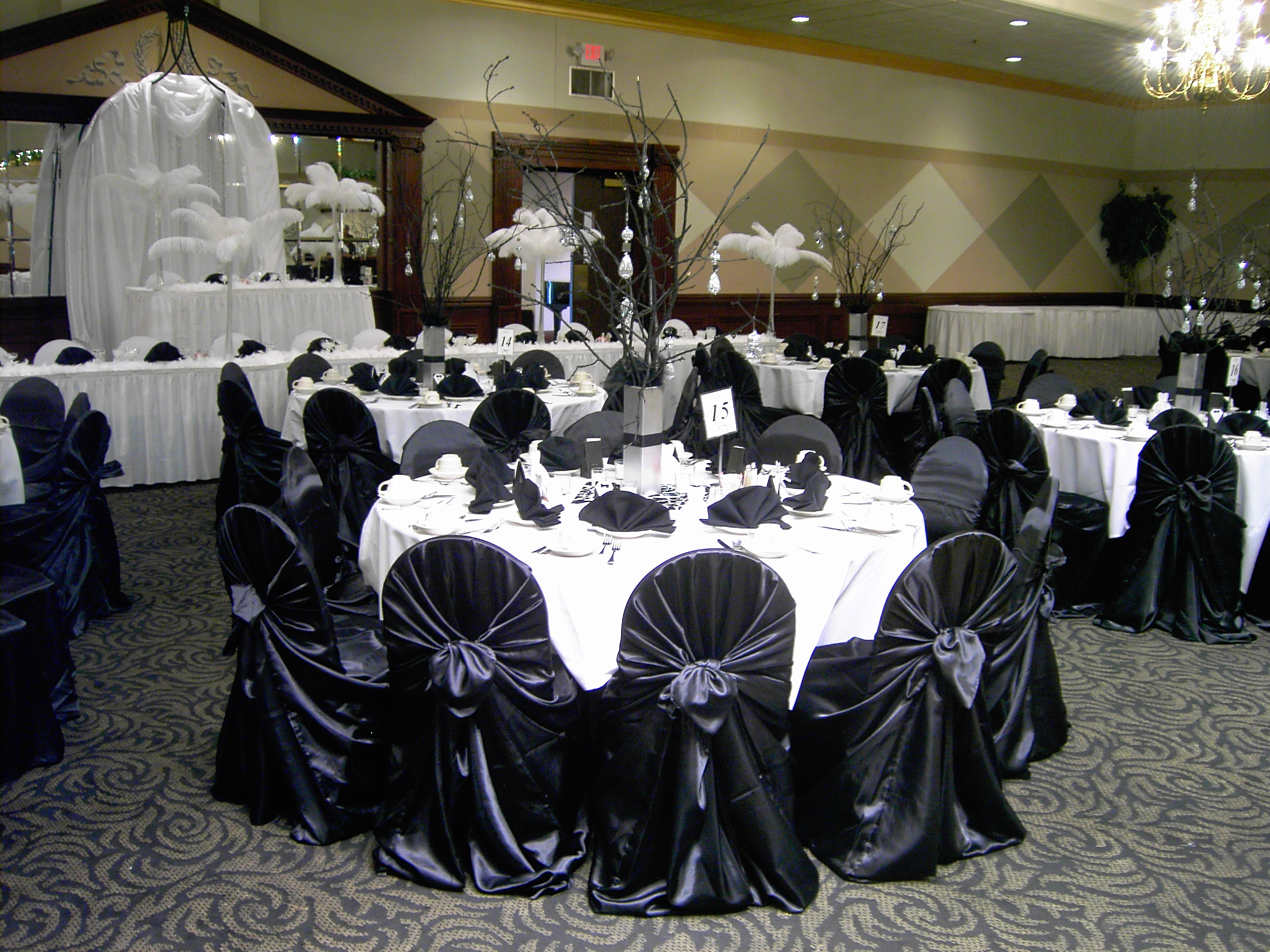 Dreams black gold champagne satin chair covers tie back